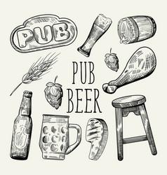 beer hand drawn menu poster banner vector image