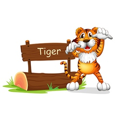 Cartoon Tiger Signboard vector image