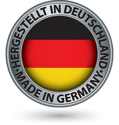 Made in Germany silver label with flag vector image vector image