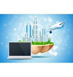 Blue Background with Business City Laptop vector image vector image