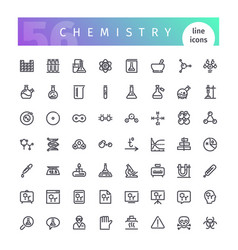 Chemistry line icons set vector