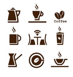 coffee brown set vector image