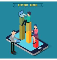 Distant Work Team Work Modern Technology vector image