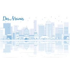Outline des moines skyline with blue buildings vector