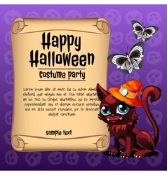 Cat and butterfly with banner happy Halloween vector image
