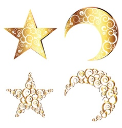 Crescent Moon and Star Symbols2 vector image