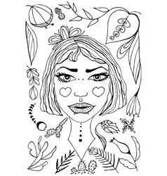 hand-drawn dreamlike girl portrait vector image vector image