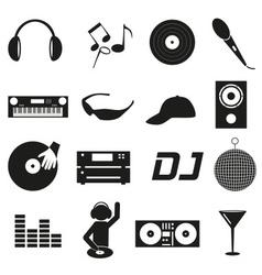 music club dj black simple icons set eps10 vector image vector image