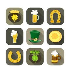 St Patrick Day icon set vector image