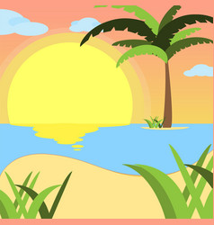 summer background of beach at sunset with waves vector image