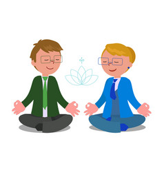 business people in meditation pose vector image vector image