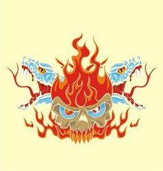 fire skull and snake vector image vector image