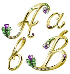 Gold alphabet with diamonds and gems letters A B vector image vector image