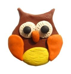 Icon of plasticine owl vector image vector image