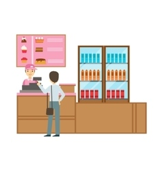 Man ordering from cashier in pink uniform smiling vector