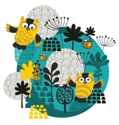 Owls bees flowers and other nature on the ball vector image