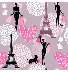 Seamless pattern - Effel Tower hearts with calligr vector image vector image