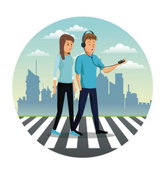 young couple walking street urban background vector image