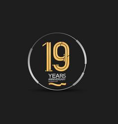 19 years golden anniversary logotype golden vector