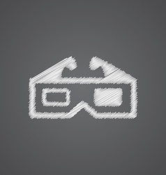3d movie sketch logo doodle icon vector image