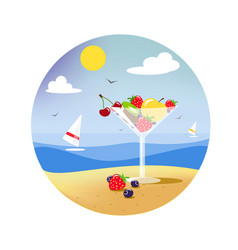 a glass of fruit on the beach vector image