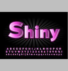 alphabet glossy font for the poster pink color on vector image