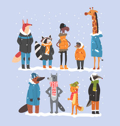 animals wearing warm clothes collection platypus vector image