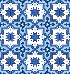 Arabic pattern Moroccan blue tiles design vector