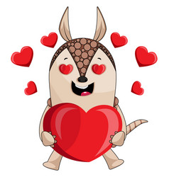 armadillo in love on white background vector image