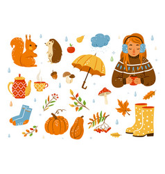 autumn cozy set cute cartoon vector image
