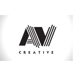 av logo letter with black lines design line letter vector image