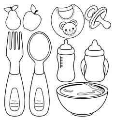 Baby food tableware set vector