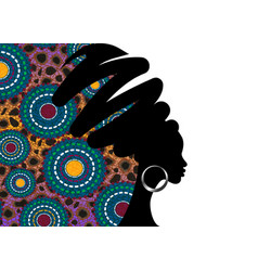 Banner portrait african woman traditional turban vector