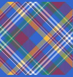 Blue check diagonal plaid tartan seamless fabric vector