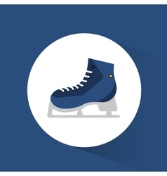 Blue ice skate winter sport icon vector