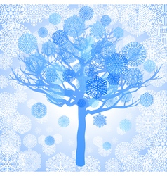 Blue snowflakes on the tree abstract background vector
