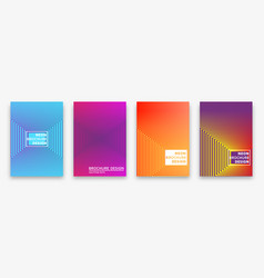 brochure design with halftone lines and neon vector image