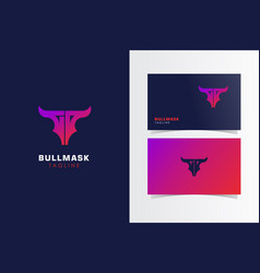 Bull mask logo mark with business card template vector
