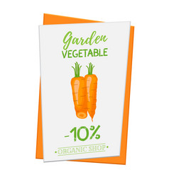 carrot poster banner cartoon flat style vector image