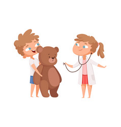 children playing cute girl doctor and teddy bear vector image