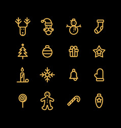 christmas icons set simple flat style vector image