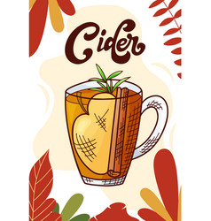 Cider cup hot drink for christmas menu vector