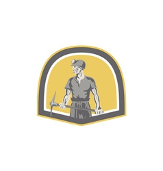 Coal Miner Standing Holding Pick Axe Shield Retro vector