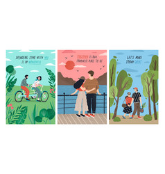 collection cards with cute romantic couples vector image