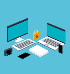 Computer laptop smartphone file document secuirty vector