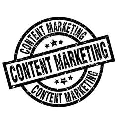 Content marketing round grunge black stamp vector