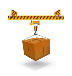 crane loading boxes art box unloading packet vector image