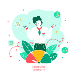 Credit score and banking flat vector