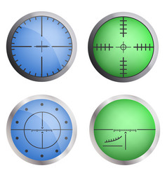 crosshair target icon set realistic style vector image