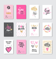 cute cards for happy mother day holiday decorated vector image